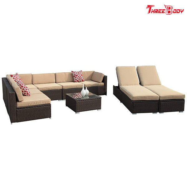 Brown Wicker Outdoor Patio Sectional Sofa Set , Modern Patio Furniture Beige Seat Lounge Chair