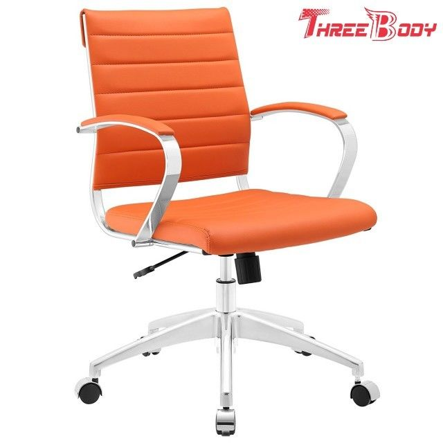 Comfortable Modern Home Furniture Aluminum Frame Orange Mid Back Executive Office Chair