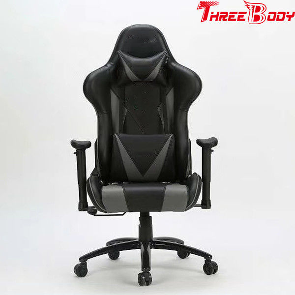 High Back Ergonomic Gaming Chair , Black And Gray Big And Tall Gaming Chair